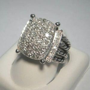David Yurman SS 20 X 16mm Wheaton Diamond Ring